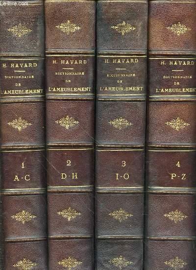DICTIONNAIRE DE L'AMEUBLEMENT ET DE LA DECORATION DEPUIS LE XIII EME SIECLE JUSQU'A NOS JOURS EN 4 TOMES (1+2+3+4 - COMPLET).