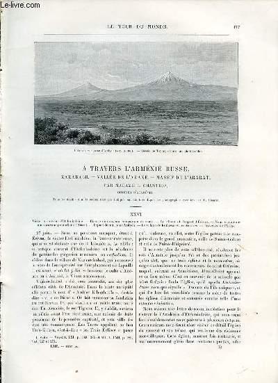 LE TOUR DU MONDE, NOUVEAU JOURNAL DES VOYAGES - A TRAVERS L'ARMENIE RUSSE, KARABAGH, VALLEE DE L'ARAXE, MASSIF DE L'ARABAT (SUITE), PAR MADAME B.CHANTRE.