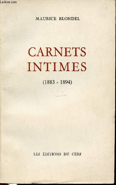 CARNETS INTIMES (1883-1894).