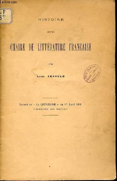 HISTOIRE D'UNE CHAIRE DE LITTERATURE FRANCAISE. EXTRAIT DE