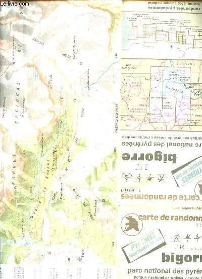 CARTE DE RANDONNEES : BIGORRE, PARC NATIONAL DES PYRENEES / PYRENEES, MONTAGNES SUD. ECHELLE 1 : 50 000. DIMENSION : 88 x 121 cm environ.