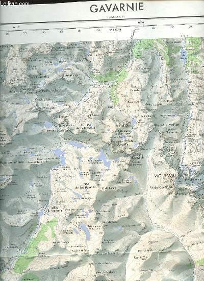 CARTE DE FRANCE 1/50000 - TYPE 1922 / GAVARNIE (ARGELES-GAZOST) - FLLE XVI-48. Carte en couleurs (recto uniquement) de DIMENSION : 72 x 56 cm environ.
