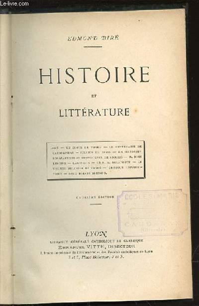HISTOIRE ET LITTERATURE : TAINE, LE COMTE DE VIRIEU, LE CENTENAIRE DE CATHELINEAU, JULLIEN DE PARIS, UN HISTORIEN BONAPARTISTE, MONSEIGNEUR DE MIOLLIS, DEUX ROMANS BRETONS, ETC.
