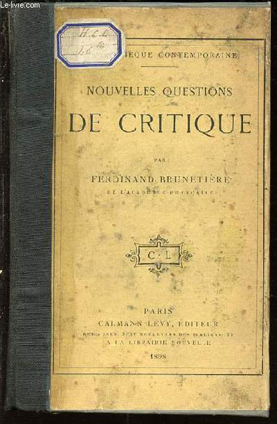 NOUVELLES QUESTIONS DE CRITIQUE - BIBLIOTHEQUE CONTEMPORAINE.