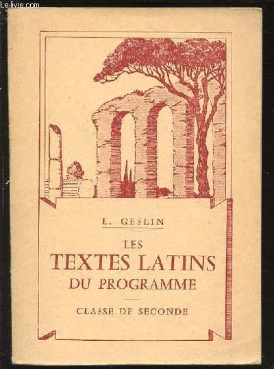 LES TEXTES LATINS DU PROGRAMME - CLASSE DE SECONDE.