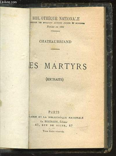LES MARTYRS (EXTRAITS) - BIBLIOTHEQUE NATIONALE.