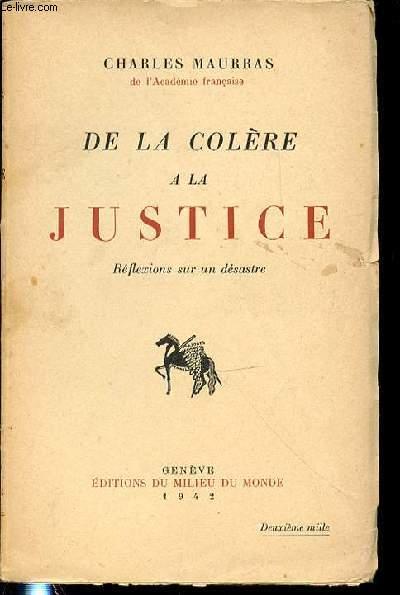 DE LA COLERE A LA JUSTICE : REFLEXIONS SUR UN DESASTRE.