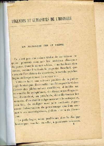 LEGENDES ET CURIOSITES DE L'HISTOIRE.