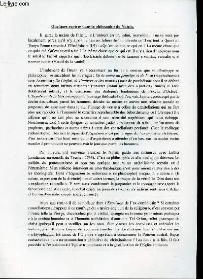 QUELQUES REPERES DANS LA PHILOSOPHIE DU NOLAIN.