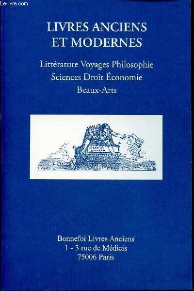 CATALOGUE DE VENTE N°135 : LIVRES ANCIENS ET MODERNES / LITTERATURE, VOYAGES, PHILOSOPHIE, SCIENCES, DROIT, ECONOMIE, BEAUX-ARTS.