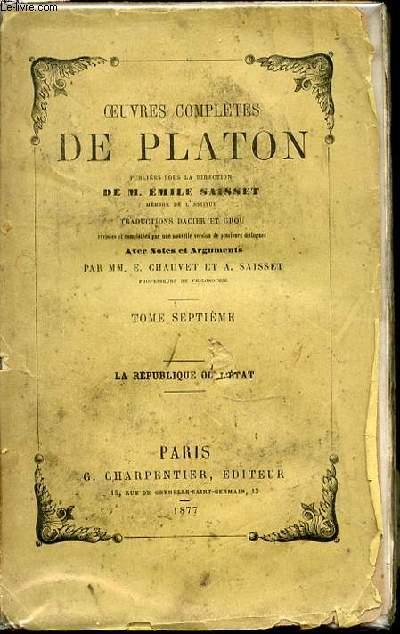 OEUVRES COMPLETES DE PLATON - AVEC NOTES ET ARGUMENTS PAR MM. E. CHAUVET ET A. SAISSET.