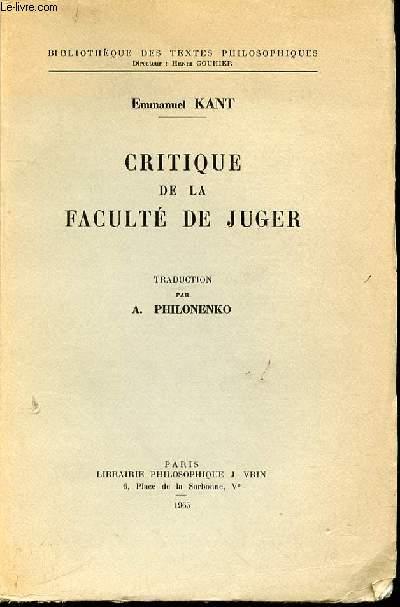 CRITIQUE DE LA FACULTE DE JUGER - BILIOTHEQUE DES TEXTES PHILOSOPHIQUES.