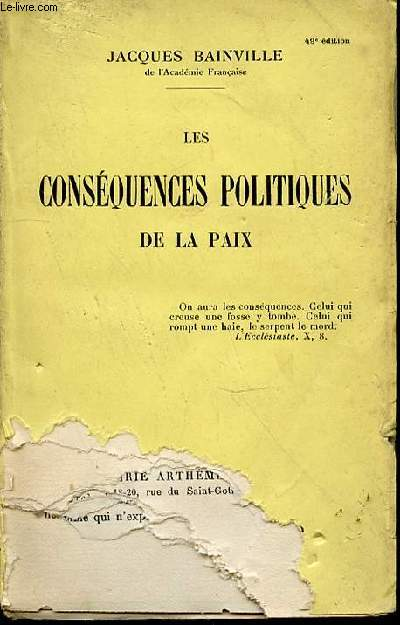 LES CONSEQUENCES POLITIQUES DE LA PAIX.