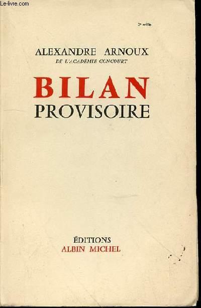 BILAN PROVISOIRE.