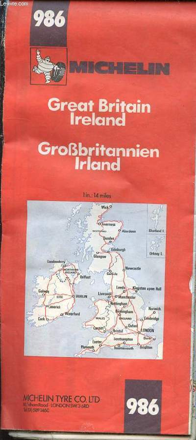 CARTE MICHELIN N�986 EN COULEURS DE GREAT BRITAIN, IRELAND DE DIMENSION 100 X 110 CM ENVIRON.