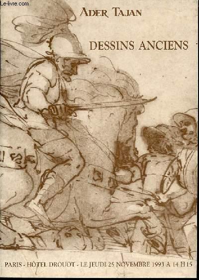 CATALOGUE DE VENTE AUX ENCHERES : DESSINS ANCIENS - HOTEL DROUOT, SALLE N°10, LE JEUDI 25 NOVEMBRE 1993 A 14H15.