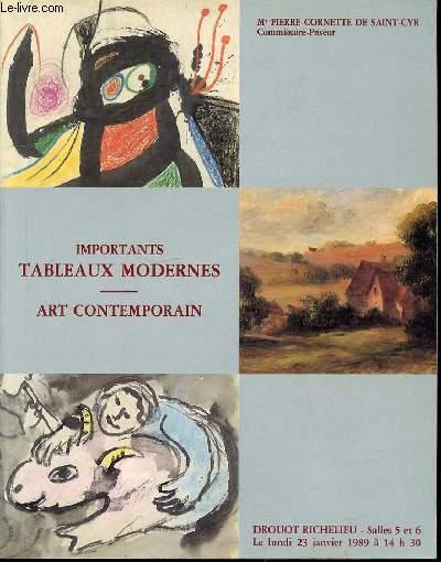 CATALOGUE DE VENTE AUX ENCHERES : TABLEAUX ANCIENS HAUTE EPOQUE OBJETS D'ART ET DE DE TRES BEL AMEUBLEMENT, DROUOT-RICHELIEU, SALLES N°5 ET 6, LE VENDREDI 20 JANVIER 1989 A 14H30 + IMPORTANTS TABLEAUX MODERNES ART CONTEMPORAIN, LUNDI 23 JANVIER 1989.