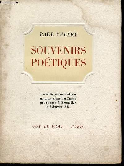 SOUVENIRS POETIQUES - RECUEILLIS PAR UN AUDITEUR AU COURS D'UNE CONFERENCE PRONONCEE A BRUXELLES LE 9 JANVIER 1942. EDITION ORIGINALE.