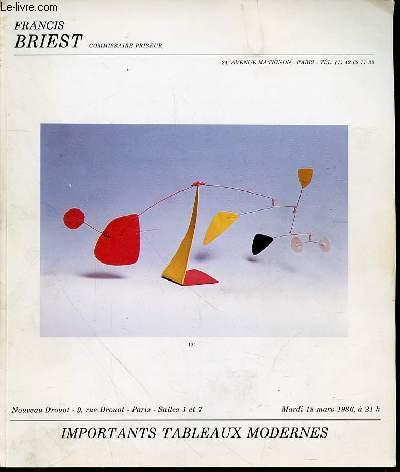 CATALOGUE DE VENTE AUX ENCHERES : IMPORTANTS TABLEAUX MODERNES - NOUVEAU DROUOT, SALLES N°1 ET N°7 / MARDI 18 MARS 1986 A 21H00.