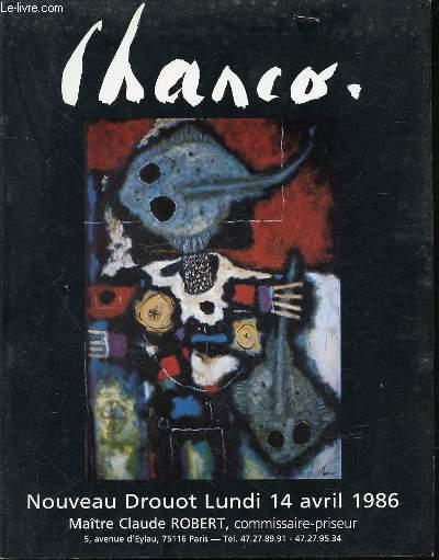 CATALOGUE DE VENTE AUX ENCHERES : ROLAND CHANCO - NOUVEAU DROUOT, SALLE N°15, LUNDI 14 AVRIL 1986.