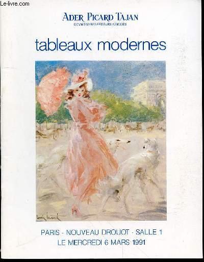 CATALOGUE DE VENTE AUX ENCHERES : TABLEAUX MODERNES (Dessins, Aquarelles, Gouaches, Sculptures, Huiles) - PARIS, NOUVEAU DROUOT, SALLE 1, LE MERCREDI 6 MARS 1991.