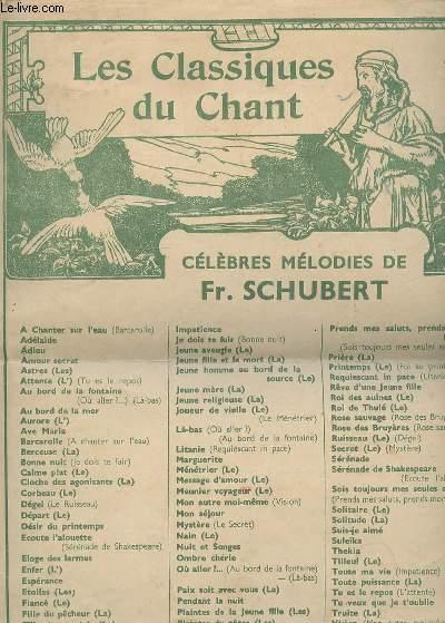 LES CLASSQUES DU CHANT - CELEBRES MELODIES DE FR. SCHUBERT - LA TRUITE DIE FORELLE DE 1817