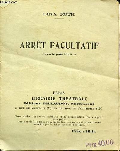 ARRET FACULTATIF - SAYNETE POUR FILLETTES