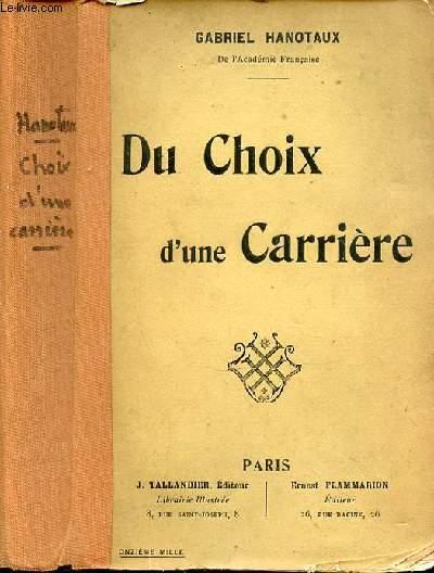 DU CHOIX D'UNE CARRIERE