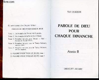 PAROLE DE DIEU POUR CHAQUE DIMANCHE - ANNEE B -