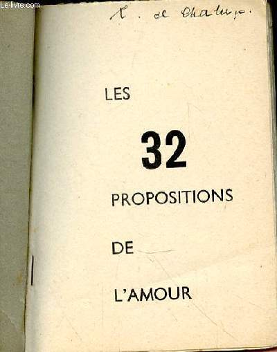 LES 32 PROPOSITIONS DE L'AMOUR