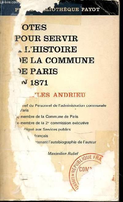 NOTES POUR SERVIR A L'HISTOIRE DE LA COMMUNE DE PARIS EN 1871 - N°185