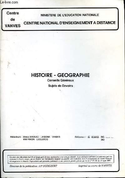 HISTOIRE - GEOGRAPHIE - CONSEILS GENERAUX - SUJETS DE DEVOIRS - REF C6502 DG 262