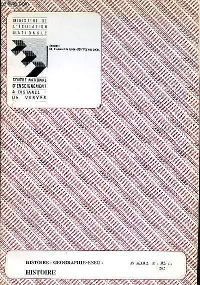 HISTOIRE - GEOGRAPHIE - ESEU - HISTOIRE - REF  : B 6302 T 02 262