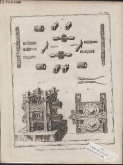 Gravure 18eme siecle - planches originales de l encyclopedie diderot d alembert in folio - n°8 - forges - 5° section - fenderie developpemns des tables