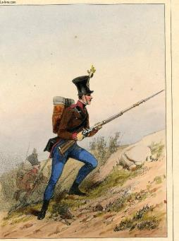 Gravure 19eme couleurs - galerie militaire - n°163 - armee autrichienne - n°17 - garde frontieres