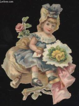 Chromolithographie - fille robe bleue