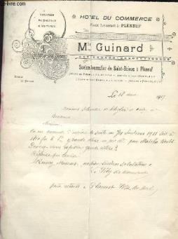 1 lettre  ancienne illustree de l hotel du commerce min guinard place lourmel a pleneuf