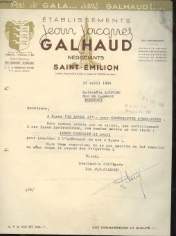 1 facture ancienne - etablissements jean jacques galhaud negociants saint-emilion