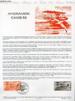 Document philatelique officiel n°11-85 - hydravion cam 53 (n°av 58 yvert et tellier)