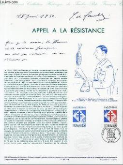Document philatelique officiel n°20-90 - appel a la resistance (n°2656 yvert et tellier)