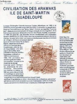 Document philatelique officiel - civilisation des arawaks ile de saint-martin guadeloupe (n°2988 yvert et tellier)