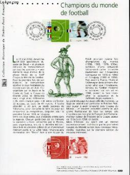 Document philatelique officiel - champions du monde de football (n°3483-3484 yvert et tellier)