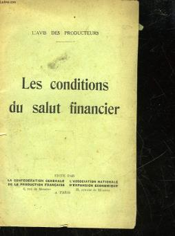 Les conditions du salut financier