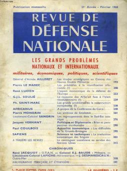 Revue de defense nationale, 21e annee, fev. 1965