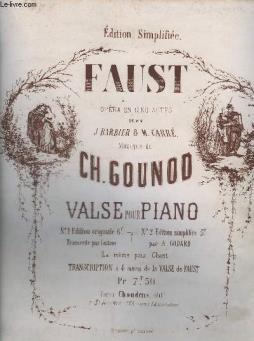 Faust - opera en 5 actes - n°2 : edition simplifiee pour piao.